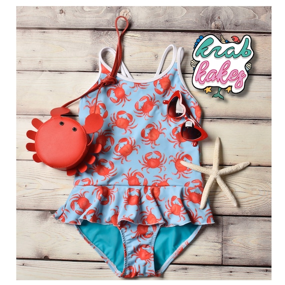Girls Swimsuit Red Crab. One-Piece Nautical Crab Swimsuit.  4th Of July Swimwear.  Swimsuit only
