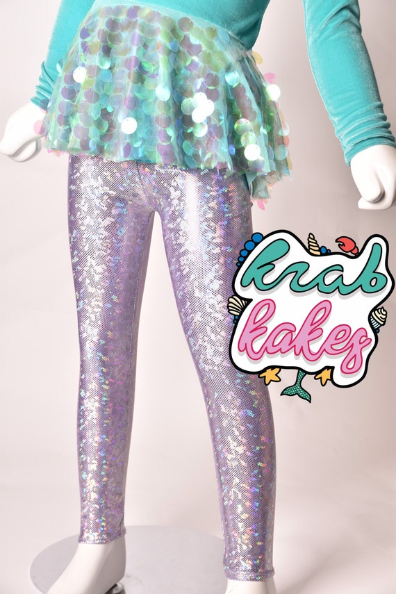 Girls Leggings Metallic Unicorn\ Mermaid Sparkle Magical. Dance and Gymnastics