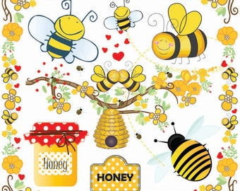 Bees Clip Art-Bumble Bee Beehive Clip Art-Buzzy Bee Clip art-Honey Bee Clipart-Summer-Spring Border Flowers Clipart-Bee Hive-tree Branch