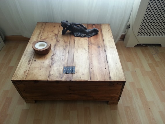 Handmade Large Square Storage Coffee Table Trunk With Dual Lids And Internal Storage Made To Order