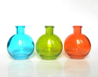 blue green orange ball glass bottles set of 3 8 oz round colored glass bottles colored glass vases diy gift wedding party favor - Colored Glass Vases
