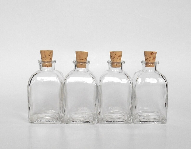 82a609d6f657 Small square clear glass bottles set (4), 4 small glass bottles with cork,  3.4 oz, 100 ml, small glass vase, DIY gift, wedding party favor