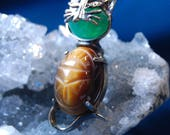 D 39 Or Egyptian Scarab Beetle Cut Jelly Belly Jade and Tiger Eyed Tummy and Head Cat Brooch in Vintage Sterling BKB-KBRCH211