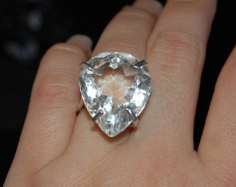 Quartz Vintage Breathtaking Timeless Huge Flawless Pear or Tear Drop Solitaire Ring Engagement Right Hand Sterling Silver#BKC-RNG169PC