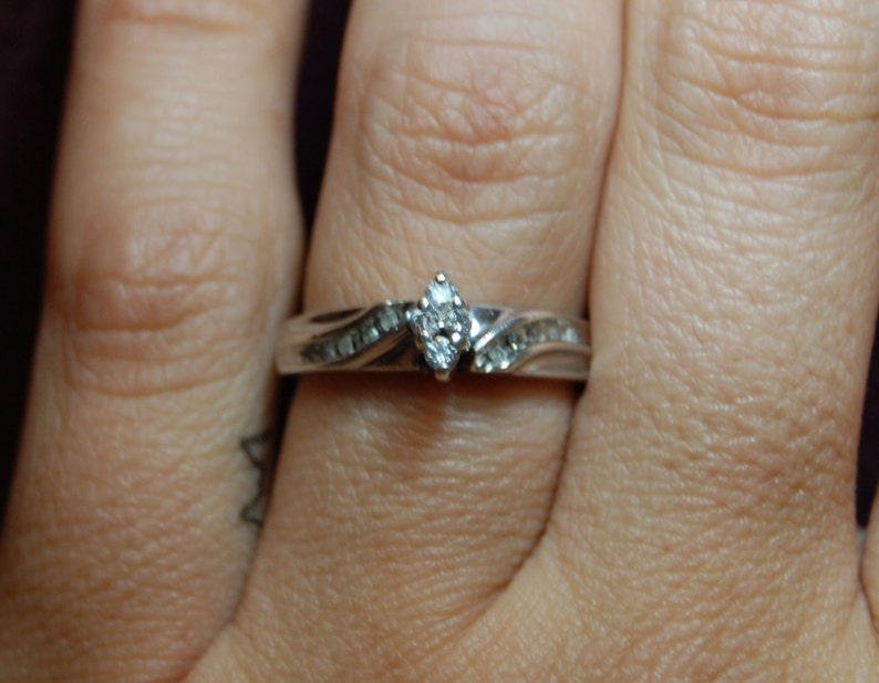 Vintage Princess Round Illusion Marquise Diamond Mid Century Set 925 Sterling Engagement Wedding Solitaire Ring #BKC-RNG149