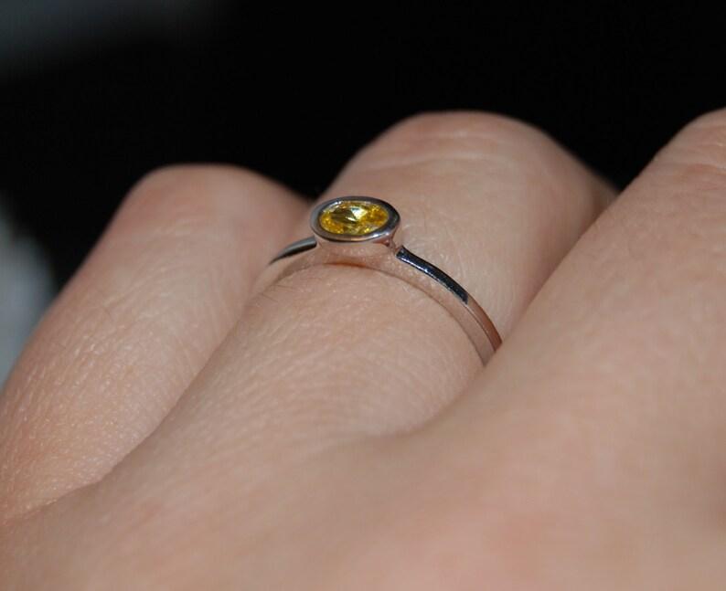 Yellow Citrine or Topaz Stacking Bezel Set Vintage Ring #BKC-RNG174