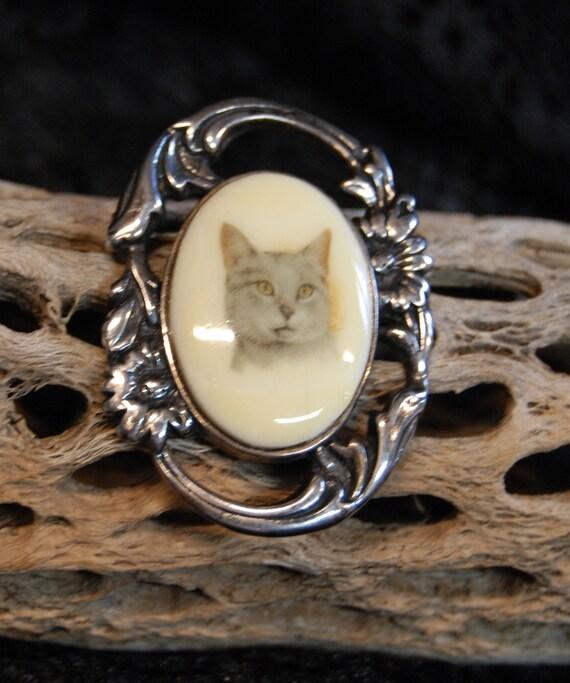 Jezlaine Vintage Sterling Feline Silver Kitty Cat with Filigree Yarn Art Noveau Bad Kitty at Play Brooch #BKB-KBRCH170