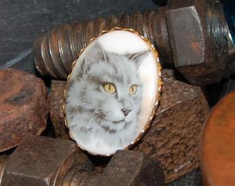 Vintage Golden Gray Feline Tabby Golden Kitty Cat Cameo Art Noveau Brooch #BKB-VNTG35