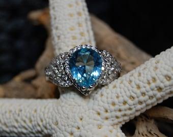 Blue Topaz Pear or Teardrop Diamond Halo Set Pave Vintage Ring #BKB-RNG266