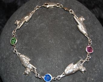 Sterling Silver Vintage Multi Kitty Linked Blue Topaz Purple Amethyst Green Peridot  Bracelet #BKB-KBRCT40