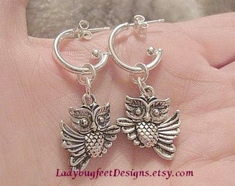 OWL - STERLING SILVER Earrings/ Silver Plated Owl Charms strung on a 925 Sterling Silver Tube Ball-Bead earring post