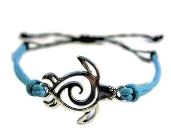 Sea Turtle adjustable Waxed Cord Bracelet,Turtle Bracelet, Turtle Anklet, Turtle Jewelry, Tortoise, Animal Bracelet, Sliding Knot bracelet