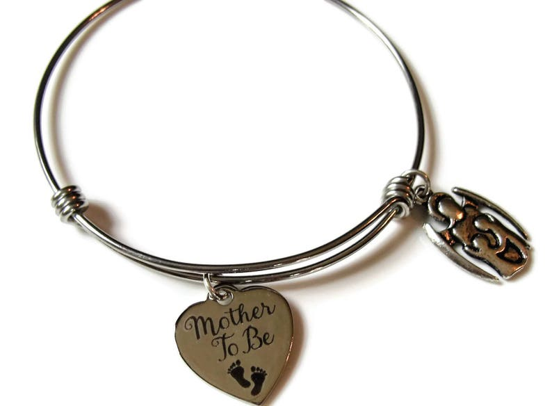 MOTHER TO BE bracelet Stainless steel adjustable bangle image 0
