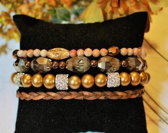 Sparkly Sands Beaded Boho Cuff Bracelet/Gift for her