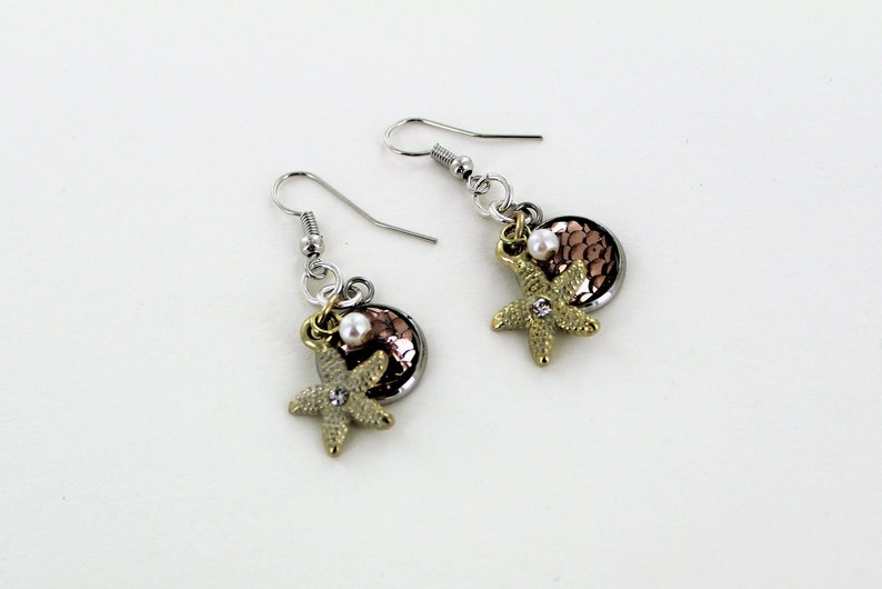 Gold Starfish Pearl & Shiny Scale Dangle Earrings image 0