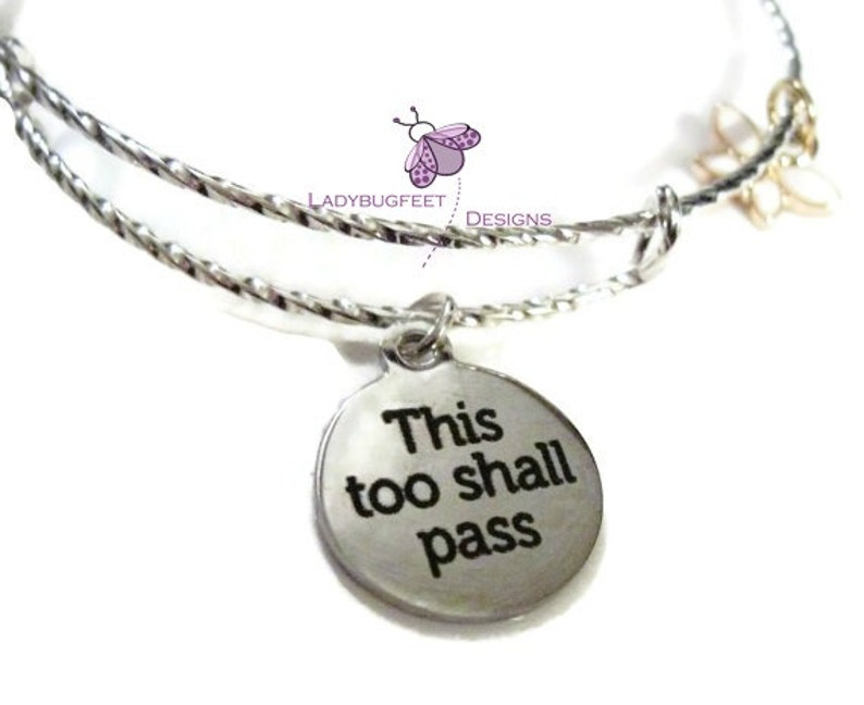 2-Tone THIS To SHALL PASS BangleAdjustable Twisted Wire Charm image 0