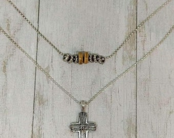 Cross Layered Necklace/Gift for her