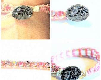 Whimsical Koi Fish Crystal Leather bracelet/Gift for her