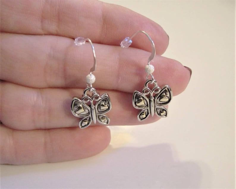 Two Tone Butterfly earrings Sterling silver hook earring image 0