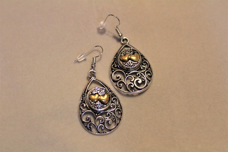 Double Heart two tone SNAP BUTTON Filigree Dangle Earrings image 0
