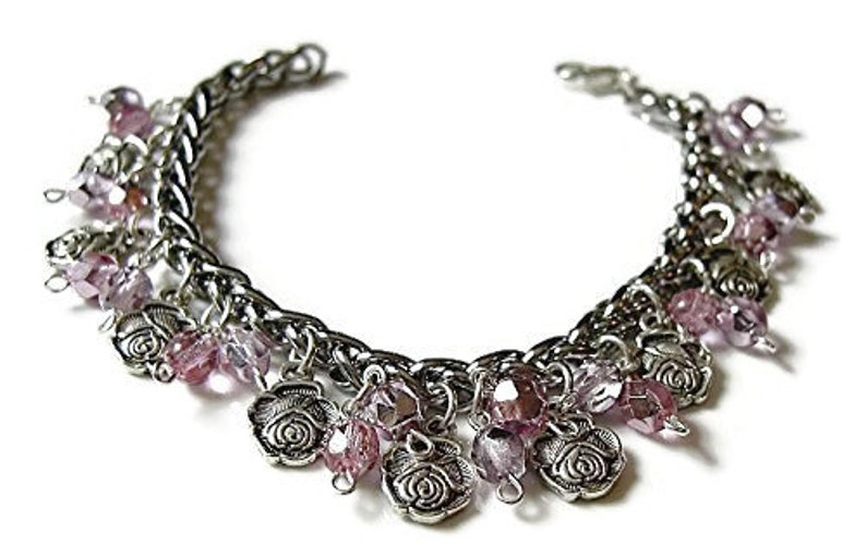 Crystals and Roses Romantic charm bracelet Sparkly charm image 0