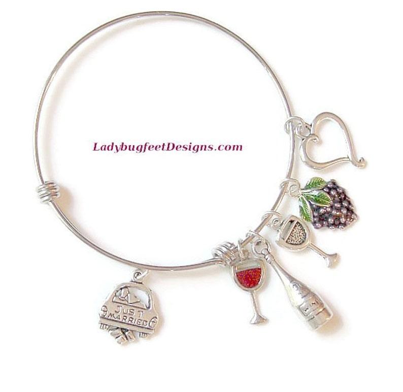 JUST MARRIED Adjustable BangleSterling Silver Charm on image 0