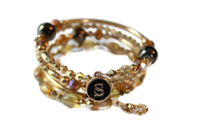 Initial Gold Tube beaded Crystal Wrap bracelet Swarovski image 0