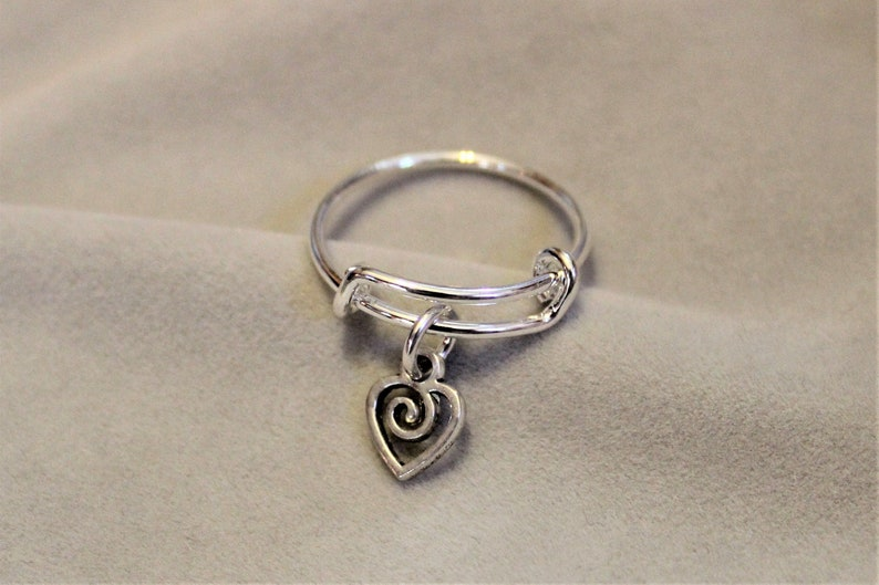 Heart Swirl Expandable Charm Ring image 0