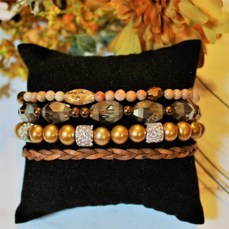 Sparkly Sands Beaded Boho Cuff Bracelet image 0
