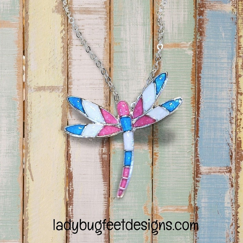 Multicolored Dragonfly necklace 18 inch image 0