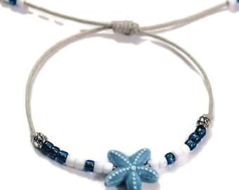 Starfish adjustable Waxed Cord surfer Bracelet