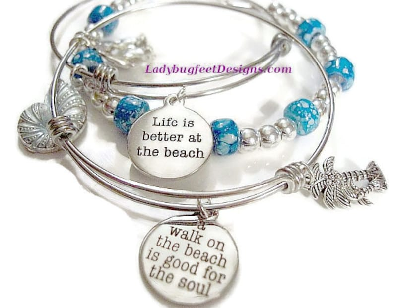 Accent Bracelet Turquoise Marbled Pony Beads Adjustable image 0