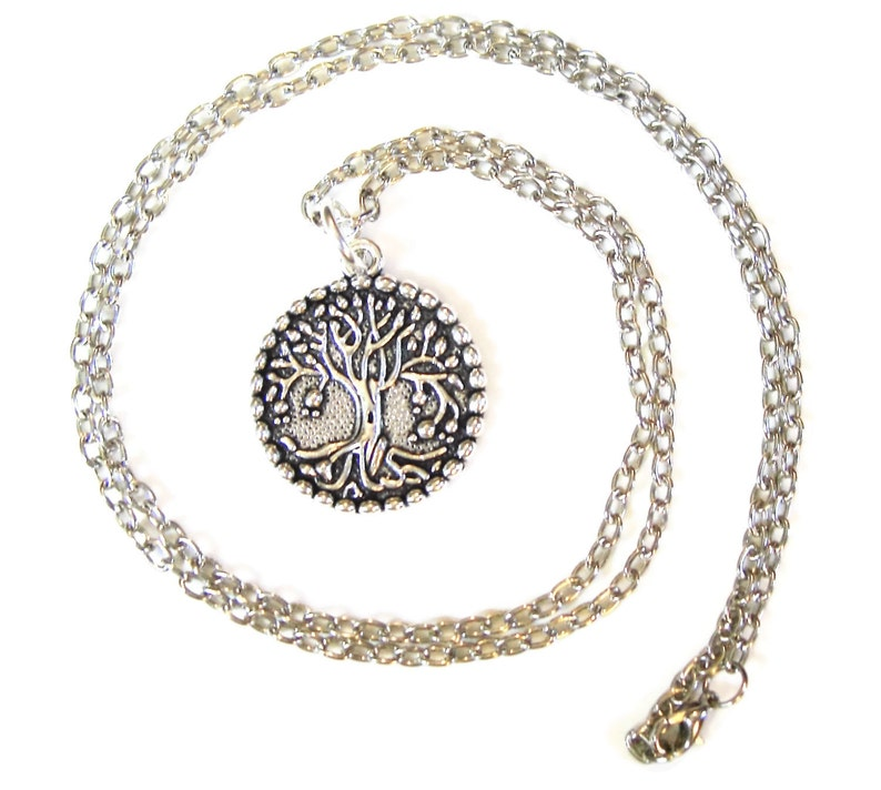 TREE OF LIFE medallion necklace Approx 30 inch long chain image 0