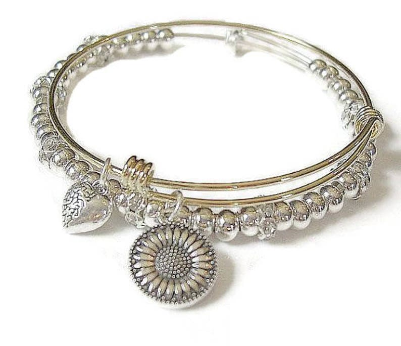2 pc set  TWO-TONE SUNFLOWER gold plated adjustable bangle image 0