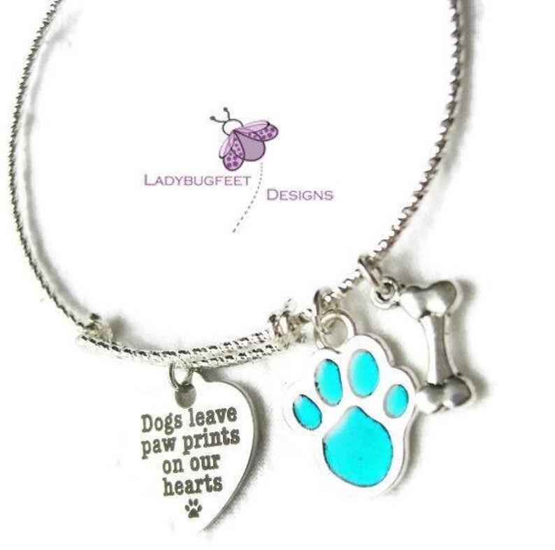 Dogs Leave Paw Prints on Our Hearts Adjustable bangle bracelet image 0