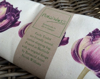 Black tulip print eco friendly canvas shopping bag