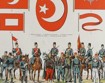 1900 Antique lithograph of TURKEY, Army and Navy Uniforms and Flags. Militaria. Turkish Army. 118 years old print