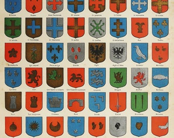 1900 Antique lithograph of HERLADRY, ESCUTCHEONS. Coat of Arms. 118 years old print
