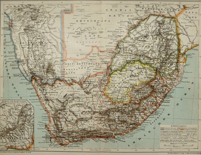 Map Of South Africa And Namibia.1895 Antique Map Of Southern Africa South Africa Namibia Lesotho 124 Years Old Chart