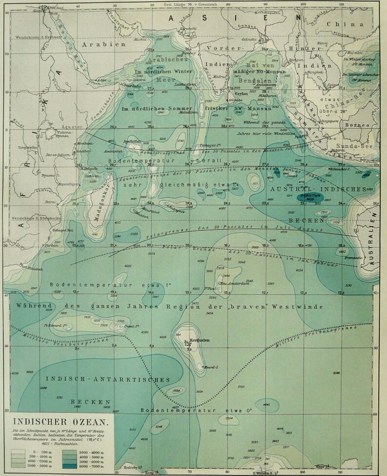 north India India 1897 Old Antique Vintage Map Plan Chart