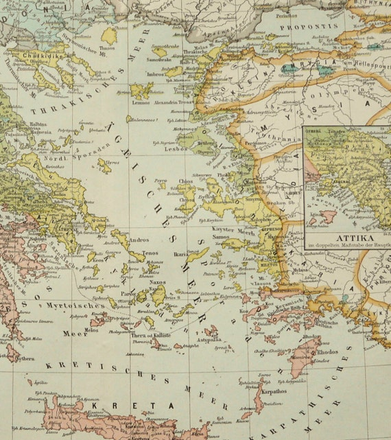 1897 Antique Map Of Ancient Greece Athens 122 Years Old Nice Etsy