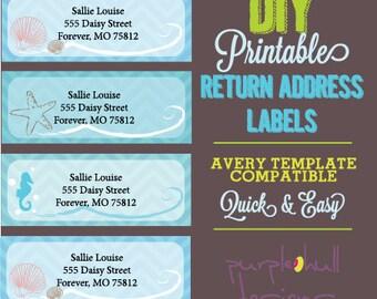 Ocean Beach Return Address Labels Turquoise Avery Template DIY Printable Customizable Instant Download 30 Per Sheet Herringbone Chevron