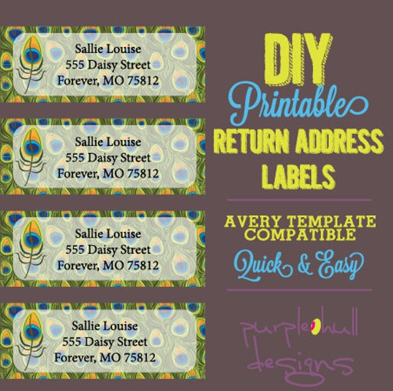 Peacock Feathers Return Address Labels Green Avery Template