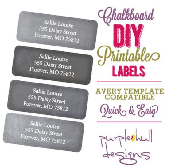DIGITAL Chalkboard Address Labels DIY Printable Personalized Return Labels