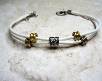 Beach Anklet, or Leather Bracelet, White, Leather Anklet, Ankle Bracelet, Custom Made, Petite to Plus Size
