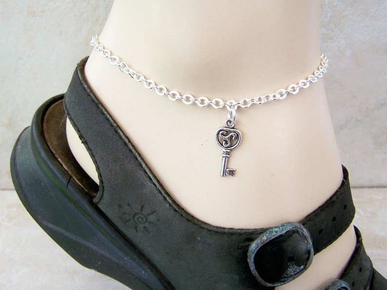 Petite to Plus Size Ankle Bracelet Key Charm Anklet On Silver Tone Chain
