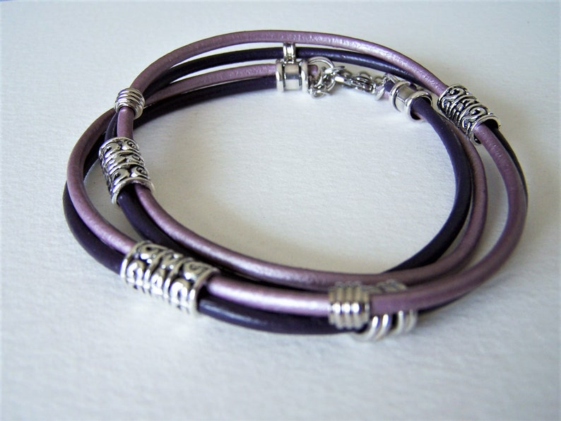 Ankle Bracelet Two Color Leather Double Wrap Anklet Petite to Plus Size,