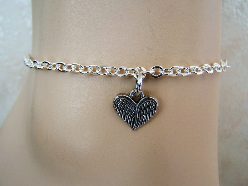 Leather Anklet Chain Ankle Bracelet Silver Anklet with Feather Heart