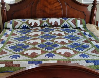 Bear and Bear Paw Twin Size Quilt