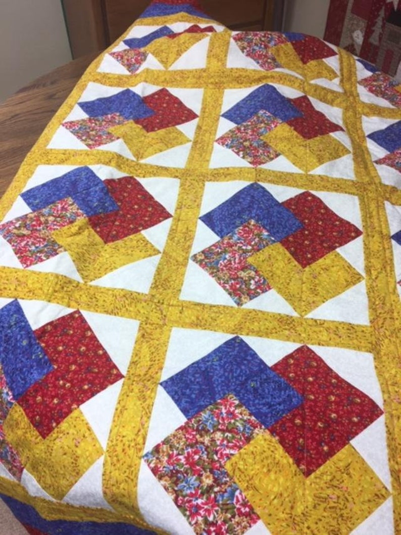 Card Trick Handmade Quilt Bright Primary Colors
